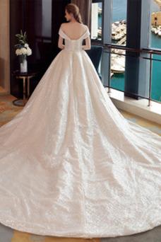 Vestido de novia Colores Iglesia Estrellado Con lentejuelas Otoño Escote con Hombros caídos