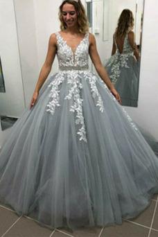 Vestido de novia Escote en V Natural Hasta el suelo Corte-A Corpiño Acentuado con Perla