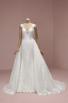 Vestido de novia Encaje Escote en V Corte-A Sin mangas Pura espalda