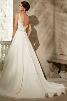 Vestido de novia Corte-A Moderno Apliques Cola Capilla Espalda medio descubierto