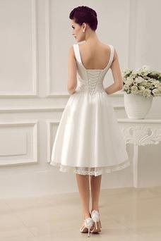 Vestido de novia Informal Sin mangas Escote en V Volantes Adorno Corte-A