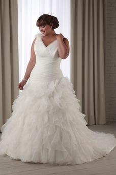 Vestido de novia Escote en V Corte-A Plisado Cola Capilla Natural primavera