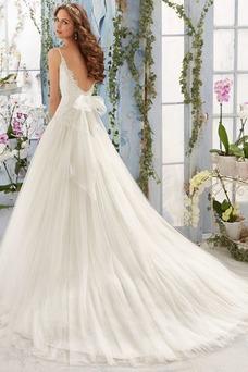 Vestido de novia Escote de Tirantes Espaguetis Encaje Natural largo