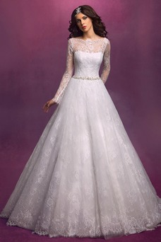 Vestido de novia Mangas Illusion Cristal Cremallera Encaje Natural Barco