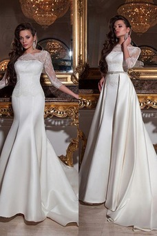 Vestido de novia Corte Sirena Fuera de casa Cremallera Cola Panel Natural