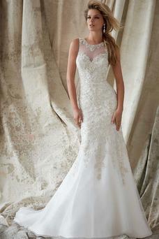 Vestido de novia Moderno largo Encaje Cremallera Sin mangas Natural