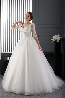 Vestido de novia Playa Otoño Formal Escote redondo Cordón largo