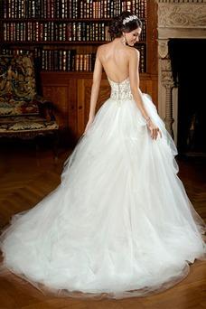Vestido de novia Natural Iglesia Abalorio Bola Espalda Descubierta Invierno