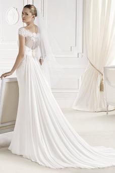 Vestido de novia Manga tapada Sala Con velo Fajas Cremallera Otoño