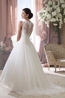 Vestido de novia Playa Corte princesa Pura espalda Apliques Cola Capilla
