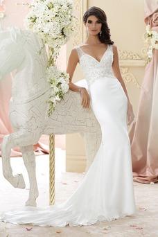 Vestido de novia Corte Sirena Colores Gasa Apliques Escote en V Sin mangas