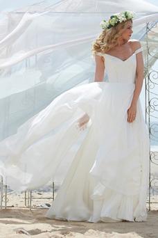 Vestido de novia Fuera de casa Natural Escote con Hombros caídos Volantes Adorno
