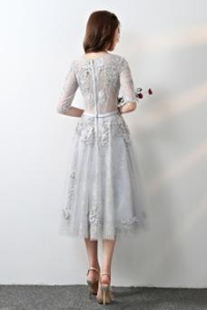 Vestido de dama de honor Corte-A Cremallera Encaje Falta Hasta la Tibia Capa de encaje