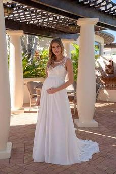 Vestido de novia Embarazadas Escote redondo Drapeado Imperio Cintura