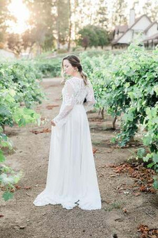 Vestido de novia Manga larga Imperio Verano Fuera de casa Apliques Pura espalda