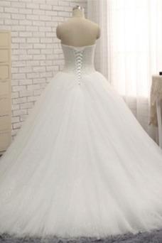 Vestido de novia vendimia Corpiño Acentuado con Perla Corte-A Perlas