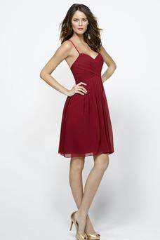 Vestido de dama de honor Sencillo Corto Natural Capa de tul Corte-A Espalda medio descubierto