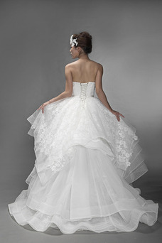 Vestido de novia Fuera de casa Sin tirantes Organza Asimétrico Dobladillo