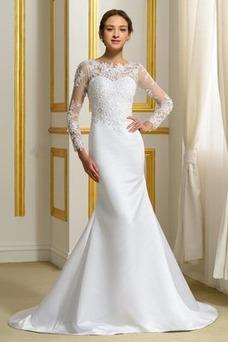 Vestido de novia Manga larga Elegante Mangas Illusion Cintura Baja largo