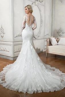 Vestido de novia Cola Capilla Encaje Otoño Capa de encaje Volantes Adorno