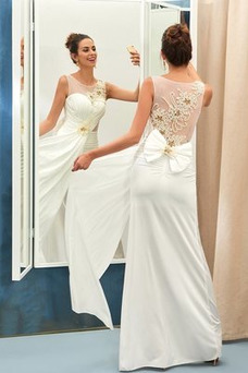 Vestido de novia primavera Corte-A Satén Espalda Descubierta Hasta el suelo