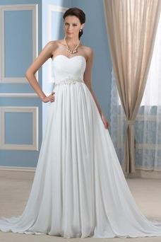Vestido de novia Drapeado Sencillo Playa Gasa Natural Cinturón de cuentas