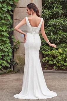 Vestido de novia Cordón Lazos Delgado Escote en V Natural Hasta el suelo
