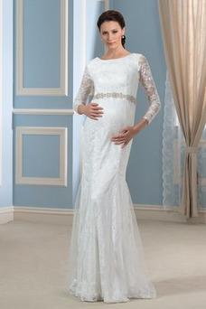 Vestido de novia Invierno Hasta el suelo Tallas grandes Cinturón de cuentas