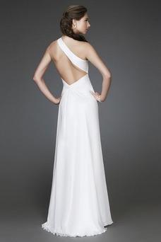 Vestido de noche sexy Natural Corte-A Gasa Blanco Un sólo hombro