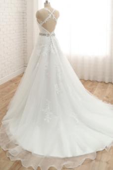 Vestido de novia Invierno Cola Barriba Falta Escote de Tirantes Espaguetis