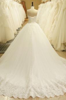 Vestido de novia Invierno Iglesia Cordón Corte-A Natural Encaje