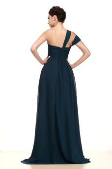 Vestido de madrina Abalorio Escote Asimètrico Gasa Imperio Natural Asimétrico Estilo