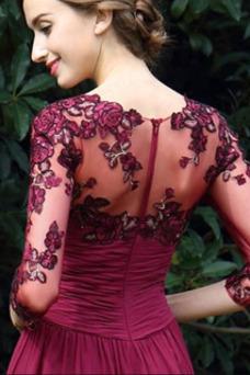 Vestido de noche Cremallera Apliques Mangas Illusion Escote en V Encaje