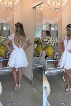 Vestido de cóctel Escote en V Natural Pura espalda Elegante Tallas pequeñas