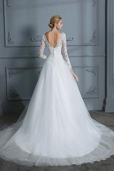 Vestido de novia Mangas Illusion Iglesia Corte-A Capa de encaje largo