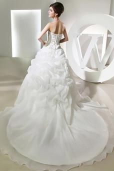 Vestido de novia Corpiño Acentuado con Perla Escote Corazón Falta Natural