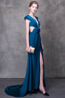 Vestido de fiesta largo Falta Verano Natural Elegante Escote en V