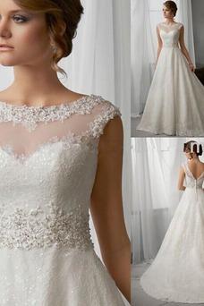 Vestido de novia largo Corte-A Espalda medio descubierto primavera Encaje