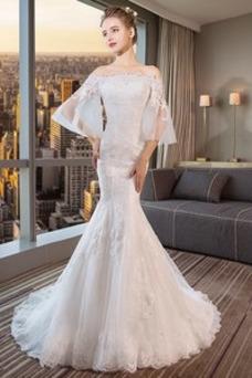 Vestido de novia Natural Cordón Capa de encaje Manga de longitud 3/4