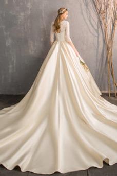 Vestido de novia Elegante Encaje Manga de longitud 3/4 Escote en V Iglesia