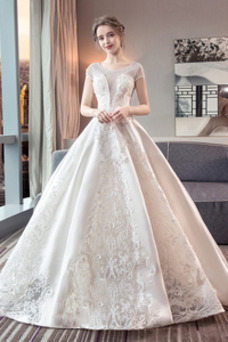 Vestido de novia Hasta el Tobillo Corte-A Falta Apliques Encaje Capa de encaje