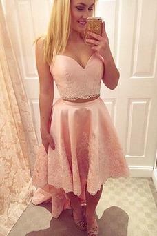 Vestido de noche Encaje Tallas pequeñas Moderno Apliques Escote Corazón