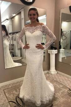 Vestido de novia Corte Sirena Manga larga Elegante Falta Capa de encaje