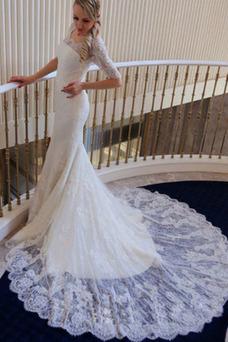 Vestido de novia vendimia Cola Barriba Verano Cremallera tul Mangas Illusion