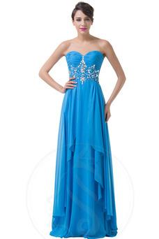Vestido de noche Elegante Gasa Plisado primavera Sin mangas Escote Corazón