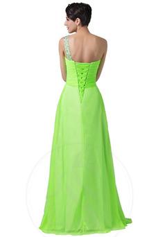 Vestido de noche Gasa Espalda Descubierta Natural Corte-A Un sólo hombro