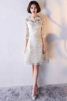 Vestido de cóctel Natural Corte-A Encaje Hasta la Rodilla Capa de encaje