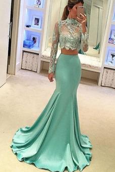 Vestido de noche Natural Cremallera Corte Sirena Capa de encaje Apliques