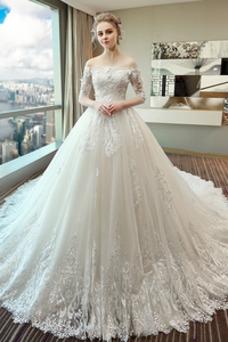 Vestido de novia Natural Sala Encaje Cordón primavera Mangas Illusion
