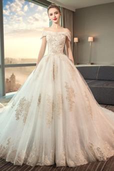 Vestido de novia largo Reloj de Arena Sala Apliques Cordón Invierno